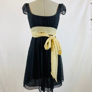 Milly Silk Polka Dot Dress Sash Tie Cap Sleeves
